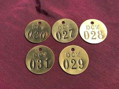 5 Brass Tags From New York City   Dcw Company