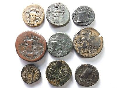 Lot of 9 Higher Quality Ancient Greek Coins; Trophy, Hydria, Owl...; 42.6 Grams!
