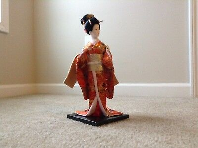 """12"""" Japanese GEISHA Oriental Porcelain Doll Figure WITH THEATRICAL COSTUME Gift"""