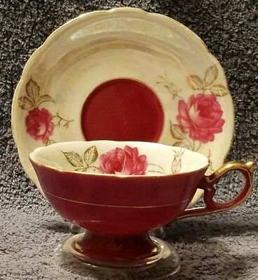 CHASE BONE CHINA HAND PAINTED TEA CUP & SAUCER JAPAN Iridescent Maroon Pink Rose