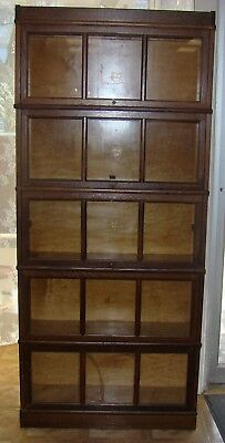 Macy Barrister 5 Stack Mission Oak Book Case 6 1/2 Feet Tall 3 Paned Glsss Doors