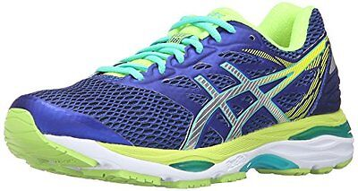 Asics Gel Cumulus 18 Womens Running Shoes size 12 NEW BLUE SILVER SAFETY YELLOW