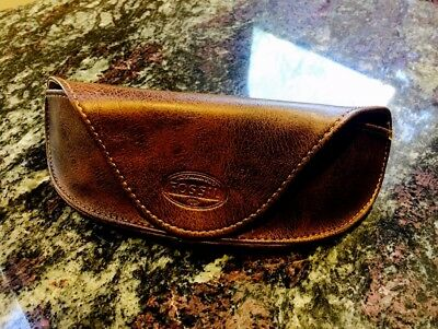FOSSIL Brown Leather Sunglasses Eye Glasses CASE Sun Glass With Fossil Bag!