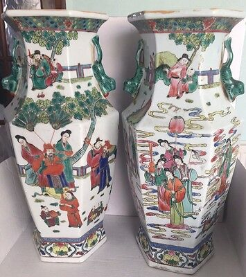 Pair Of Huge Antique Chinese Famille Rose Porcelain Flower Vases Hand Painted
