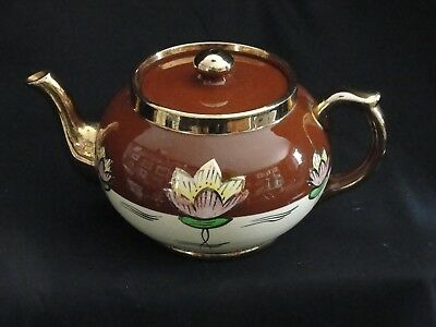 Vintage Gibson's Staffordshire England Tea Pot Brown Gold Floral China