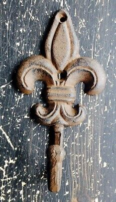 Cast Iron Fleur De Lis Wall Hook Rusty Brown Finish French Country Sm