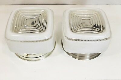 2 Vintage Ceiling Light Fixtures Art Deco Kitchen Lights Square Glass Chrome