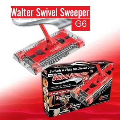 New Cordless Rechargeable Swivel Sweeper Battery Powered G6 Quad-Brush