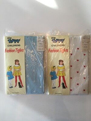 2 Vintage Childrens Kids Fashion Tights New in Package Valentine Hearts Flowers