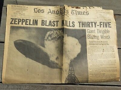ONE of a KIND LOS ANGELES TIMES NEWSPAPER HINDENBURG CRASH MAY 7 1937