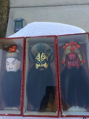 Set of Vintage Asian Pottery Chinese Masks Bearded Hair Wall hangings vintage