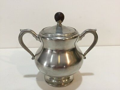 """Vintage KMD Royal Holland Pewter Covered Sugar Bowl, 5 1/2"""" Tall x 6"""" Widest"""