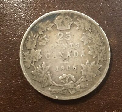 1906 Canada Silver Quarter Large Crown Variety, Century Old Silver Coin