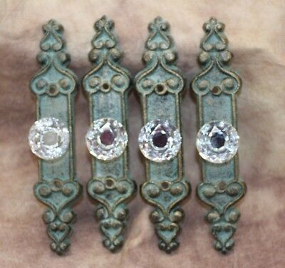 "(4), Regency Style Crystal Drawer Knob Pulls with Cast Iron Back plate,7"", HW-25"
