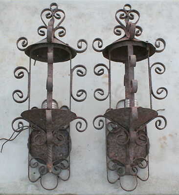 Pair Vintage Wrought Iron Sconces Hand Made Original Rusty Surface