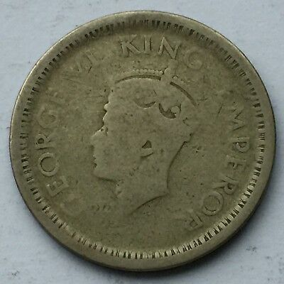 British India 1 Rupee silver coin, issued in 1944, circulated