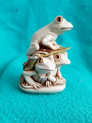 Harmony Kingdom Treasure Jest *3 Frogs* Look Before You Leap Frogs V1 Signed Box