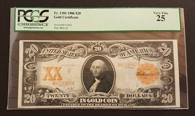 1906 Gold Certificate Twenty Dollar $20 Bill Large Note PCGS VF 25