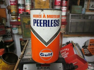 Early Original Gulf Peerless Motor Oil Imperial Quart Metal Can Full