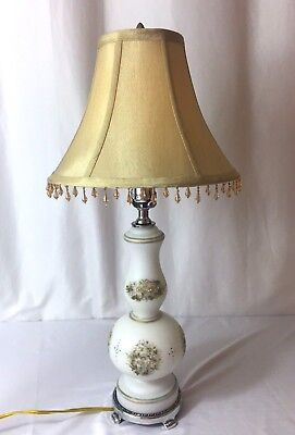 Vtg White Satin Glass & Chrome Painted Floral Table Lamp & Shade Mid Century