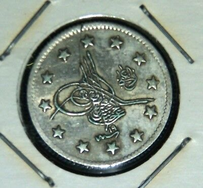 Turkey - AH1293 - Year 19 - 1893 - Silver 2 Piastres - Great Coin!