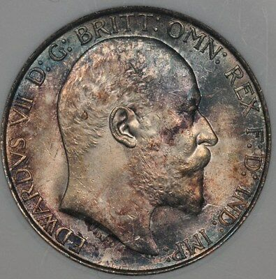 1902 Anacs Ms63 Great Britain Florin 2 Shillings Toned