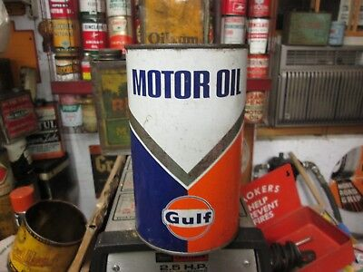 Early Original Gulf Motor Oil Imperial Quart Metal Can Full