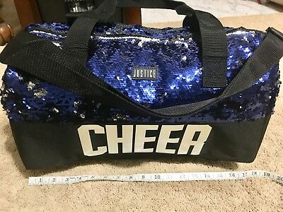 NEW with Tags Justice Girl's Cheer Sequins Bag Blue  Silver