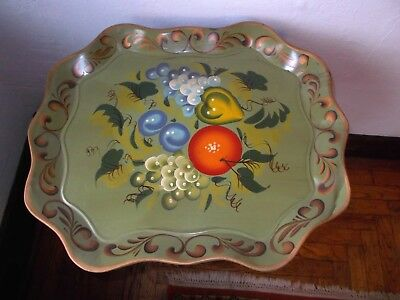 Antique Vintage Tole Chippendale Tray Metal Art Green Hand Painted Floral Sign