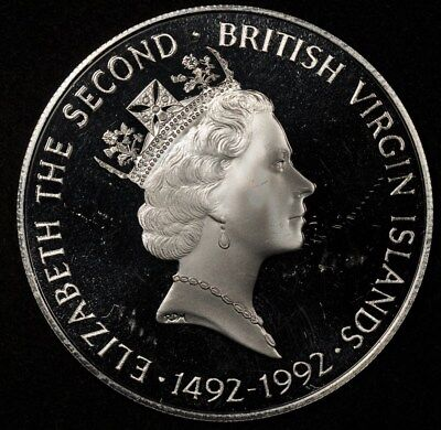 1992 BRITISH VIRGIN ISLANDS $25 COLUMBUS & ISABELLA SILVER PROOF .6365oz ASW