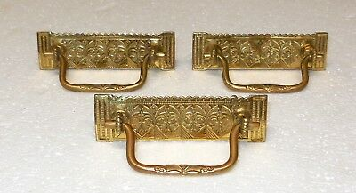 Original Antique c1875 VICTORIAN EASTLAKE Solid Brass Bail Pulls Floral Gothic