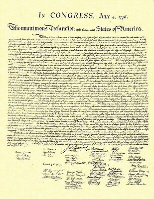 DECLARATION OF INDEPENDENCE Reproduction Gold Parchment 8.5x11 Print