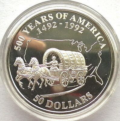 Cook 1992 Oregon Trail US Map 50 Dollars Silver Coin,Proof