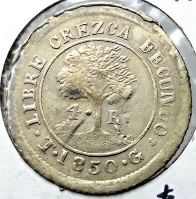 1850 4 Reales State of Honduras - Provisional Km#20 Circulated Coin RARE.