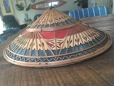 Asian Rice Patty Hat, Decorative Conical Straw Farmer Hat 16""