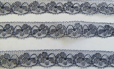 Antique Trim Edging LACE French Net Navy Blue