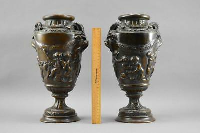 A Pair Of French 19th Century Neo-Classical Patinated Bronze Urns No Reserve