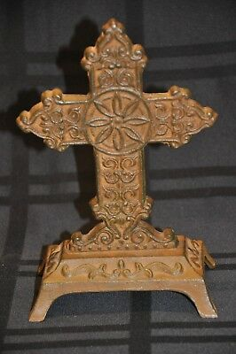 rustic cast iron Christian altar cross crucifix used
