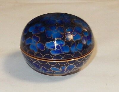 Small Chinese Cloisonne Royal Blue Enamel Floral Design Jar Bowl Box