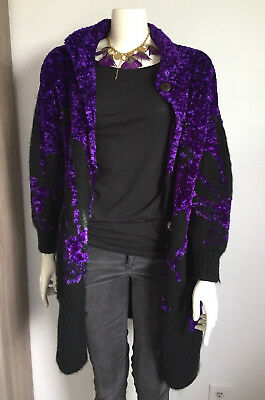 VTG Chunky Bright Purple Black Collared Cardigan Sweater Coat Button Front 80s M
