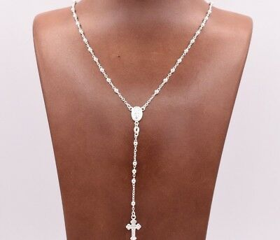 3mm Rosary Shiny Chain Necklace Real Sterling Silver 925 Italian ALL SIZES