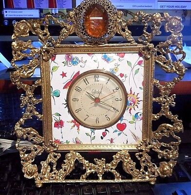 Ornate Vintage Globe Electric Clock Tattoo Designs Brass Frame Antique/new Art