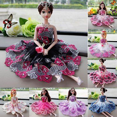 Handmade Diamond Princess Dress Wedding Party Clothing Gown For Barbie Doll