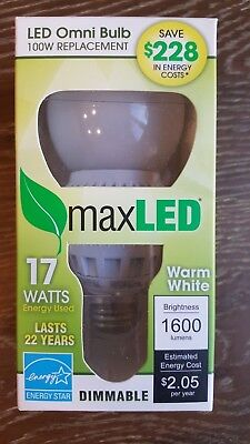 MaxLite DIMMABLE LED Omni Bulb Lamp 17Watts 100W Replacement Warm White 2700K