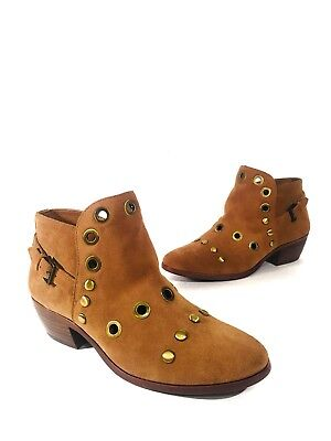 74ad1596a6c4f0 NEW Sam Edelman Pedra Brown Suede Embellished Grommet Ankle Booties Size 7  Boots