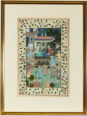 Pair of Persian Early 20th Century Watercolour Court Scenes