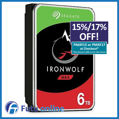 "6TB Seagate IronWolf SATA 3.5"" Internal NAS HDD Hard Drive 7200RPM 256MB Cache"