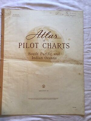"""Genuine 60s Vintage Book of  """"Atlas of Pilot Charts South Pacific & Indian Ocean"""