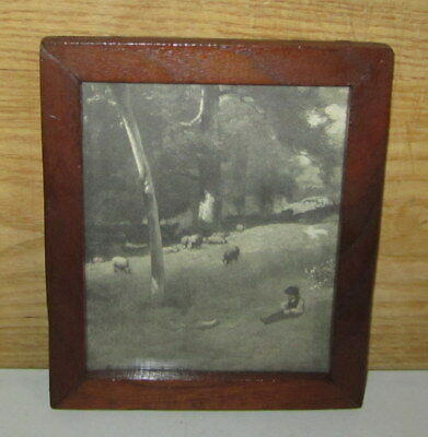 Antique Oak Picture Frame With Lithograph Shepherd Boy & Flock
