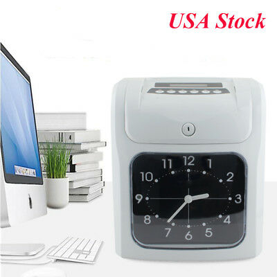 Employee Attendance Punch Time Clock Payroll Recorder LCD Display w/ Free Card